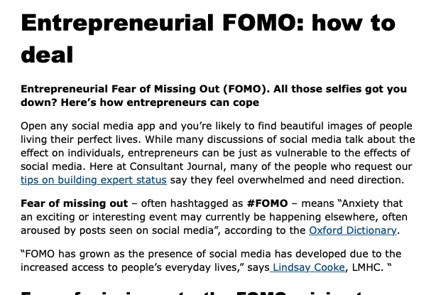 Entrepreneurial FOMO: How To Deal - Consultant Journal, 2019