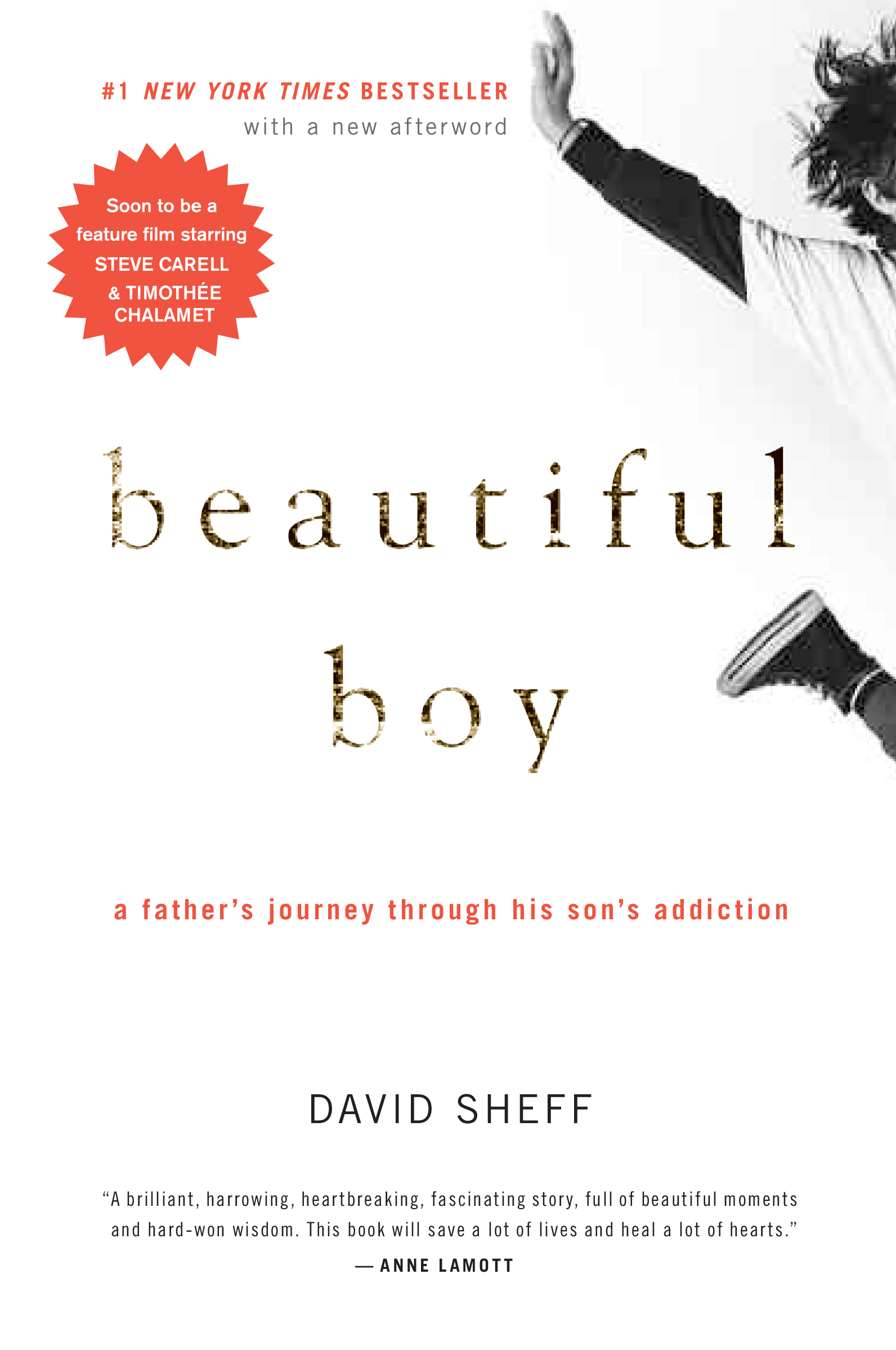 "beautiful boy - A FATHER'S JOURNEY THROUGH HIS SON'S ADDICTION""This is a brilliant, harrowing, heart-breaking, fascinating book, full of beautiful moments and hard-fought wisdom. It's going to save a lot of lives, and help heal a lot of hearts. I absolutely could not put it down: I read it straight through in two nights."" - Anne Lamott""My generation experimented with drugs and, now that we are parents, we're caught off guard. We never contemplated having to face what David Sheff has faced. He writes with candor, courage, and grace his family's harrowing – and sadly not atypical – story. Beautiful Boy is an important book. It is moving, timely, and sobering. It's also startlingly beautiful."" – Sir Richard Branson""Those of us who love an addict--or are addicts ourselves–will find BEAUTIFUL BOY a revelation. David Sheff knows all too well what must be endured with faith, and his extraordinary book describes it better than anything else I've read. While painfully candid, BEAUTIFUL BOY is equally optimistic and powerful."" – Martin Sheen"