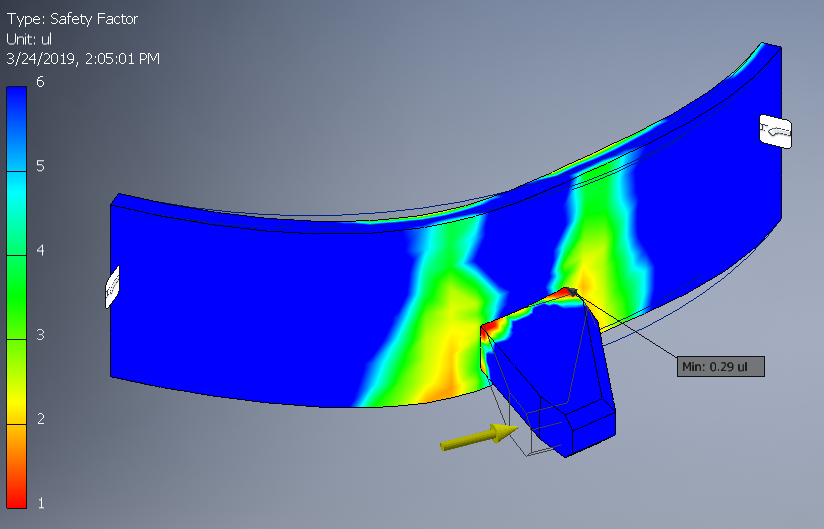 FEA FOS Plot for the Original Tooth Showing the Front.