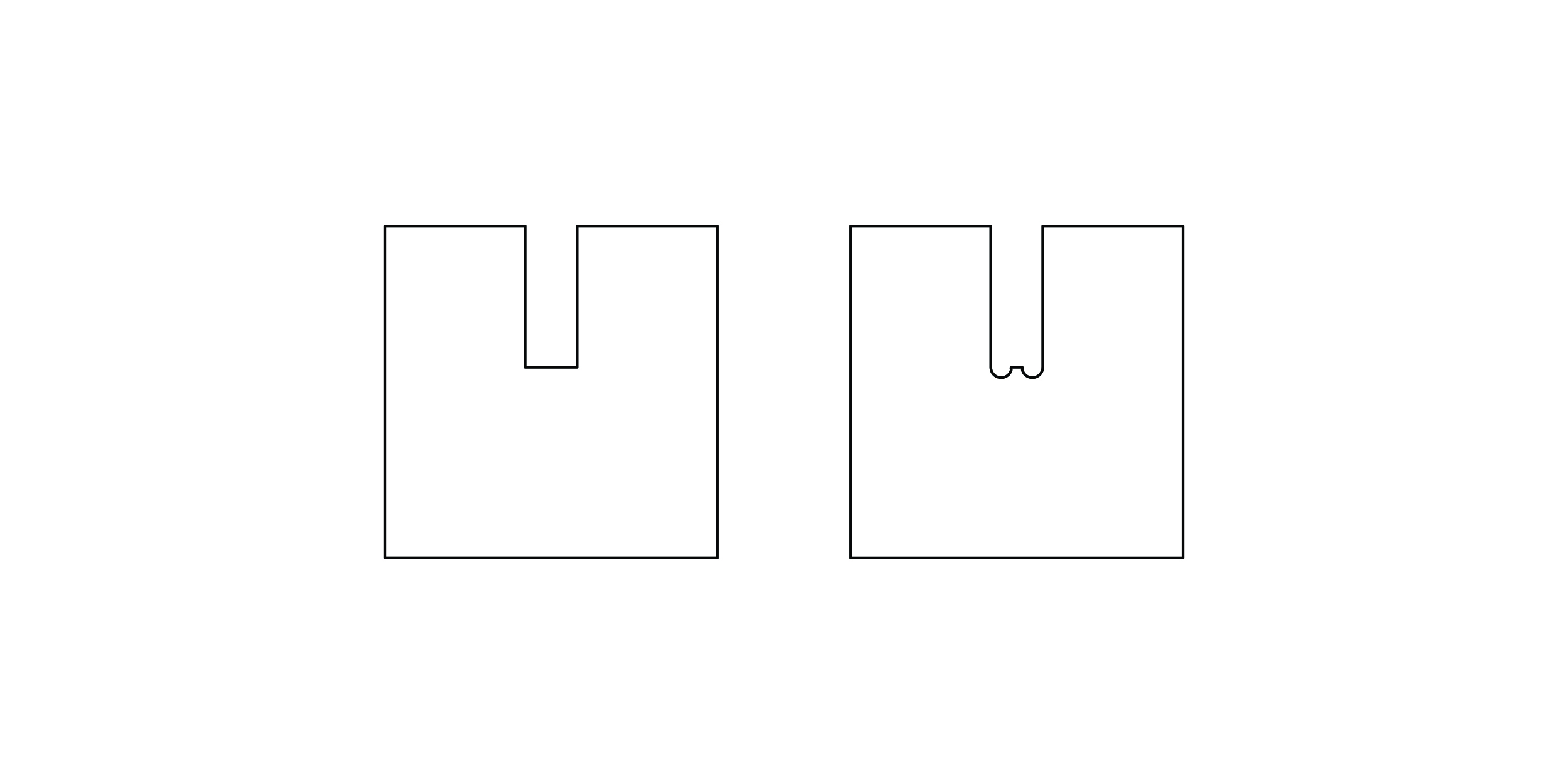 Vectors should be supplied with this extension taken into account. The shape on the left shows a shape without this taken into account.