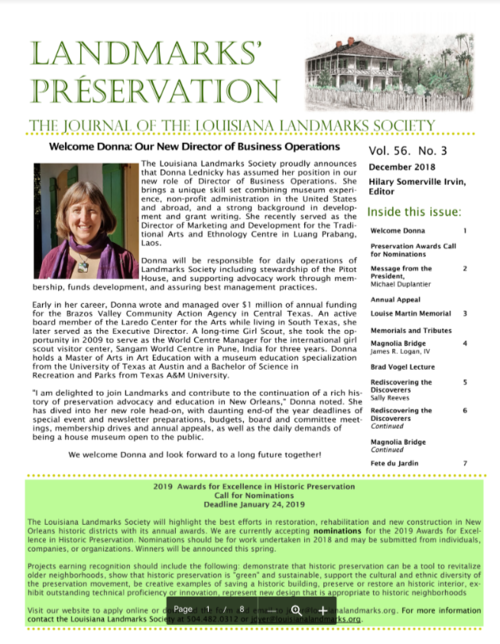 Préservation Newsletter Archive — Louisiana Landmarks Society