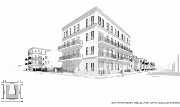 An architect's rendering of the proposed mixed-income housing development in Bywater.