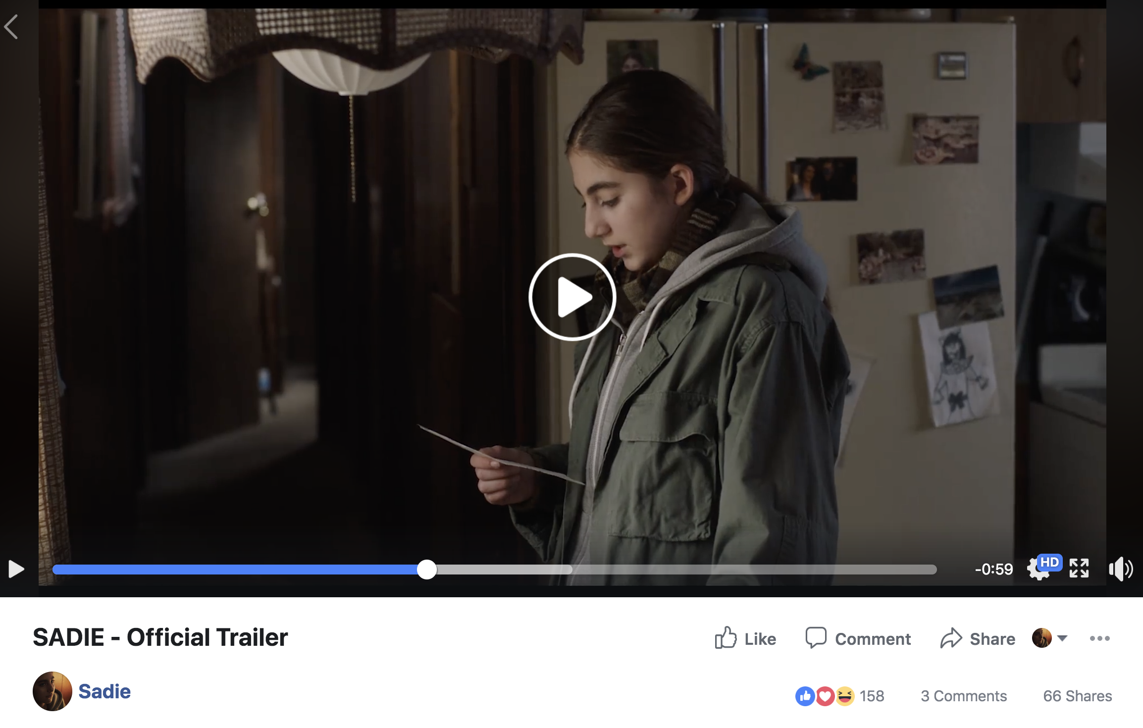 SADIE Trailer Facebook