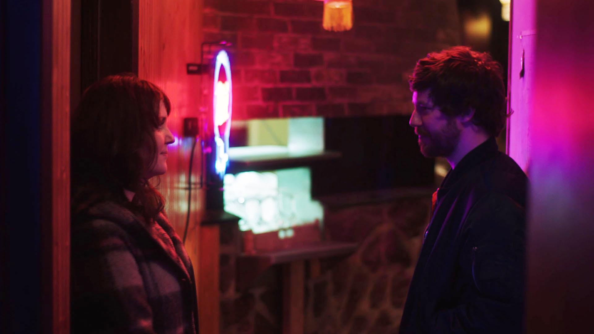 Melanie Lynskey as 'Rae' and John Gallagher, Jr. as 'Cyrus' in SADIE