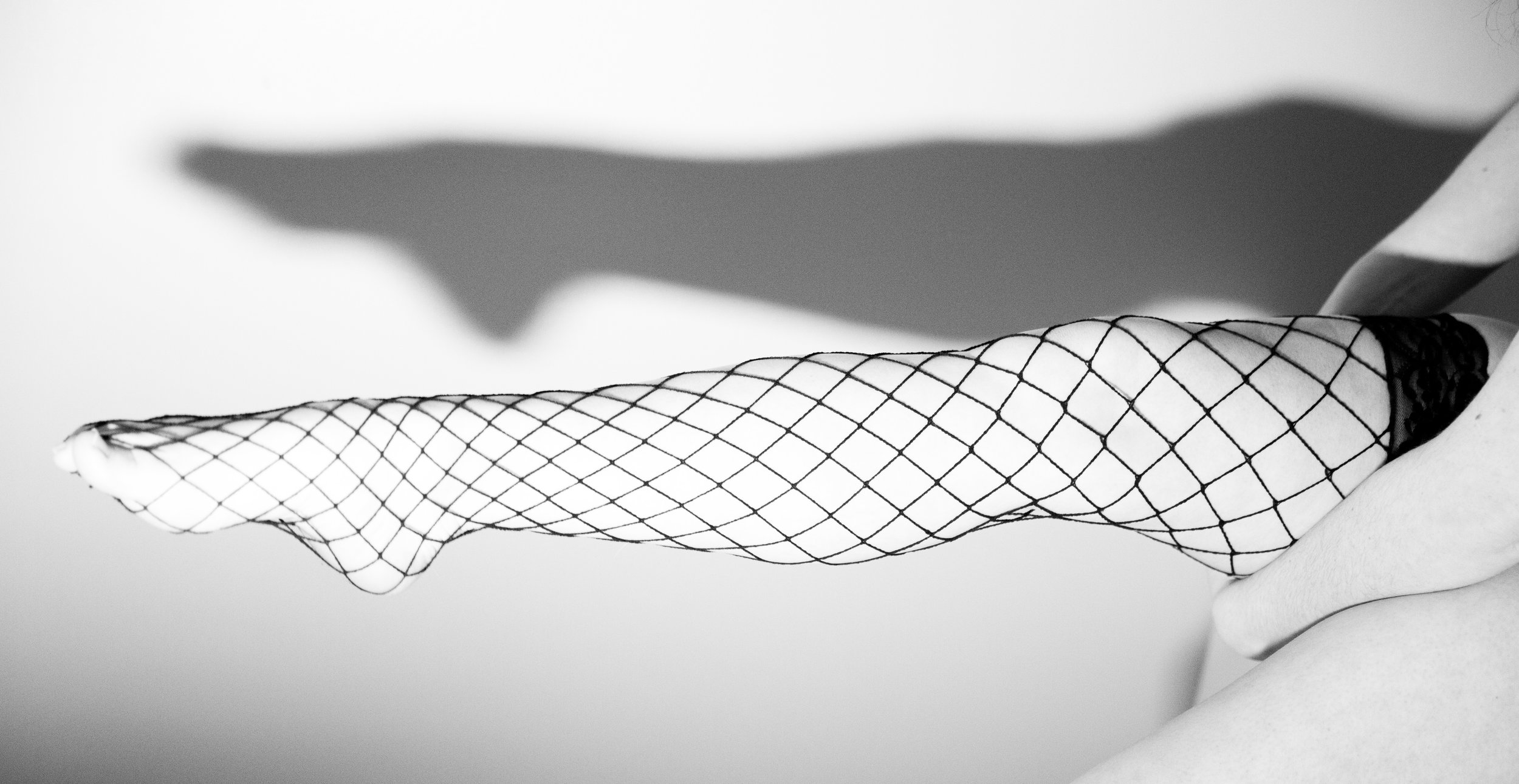 long legs in fishnet stockings