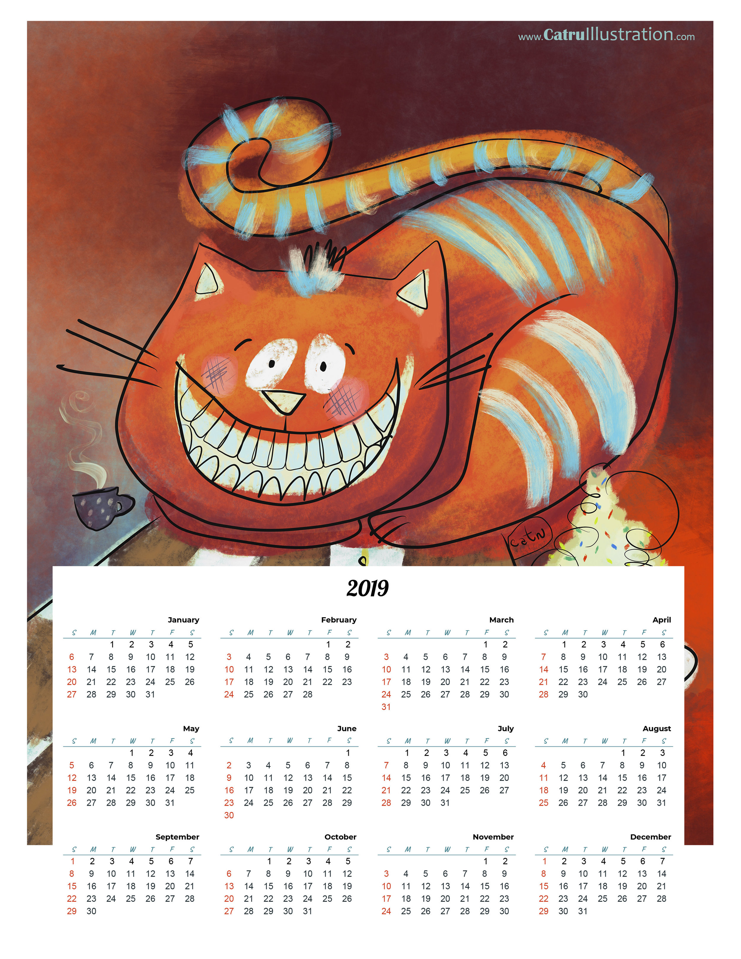 Chesire Cat by CatruCALENDAR 2019 - for Free! as gift from me to you all, for making me happy with all your support and love!I've made it in a PDF file letter size, so you can DOWNLOAD HERE and print it. Enjoy it! :)