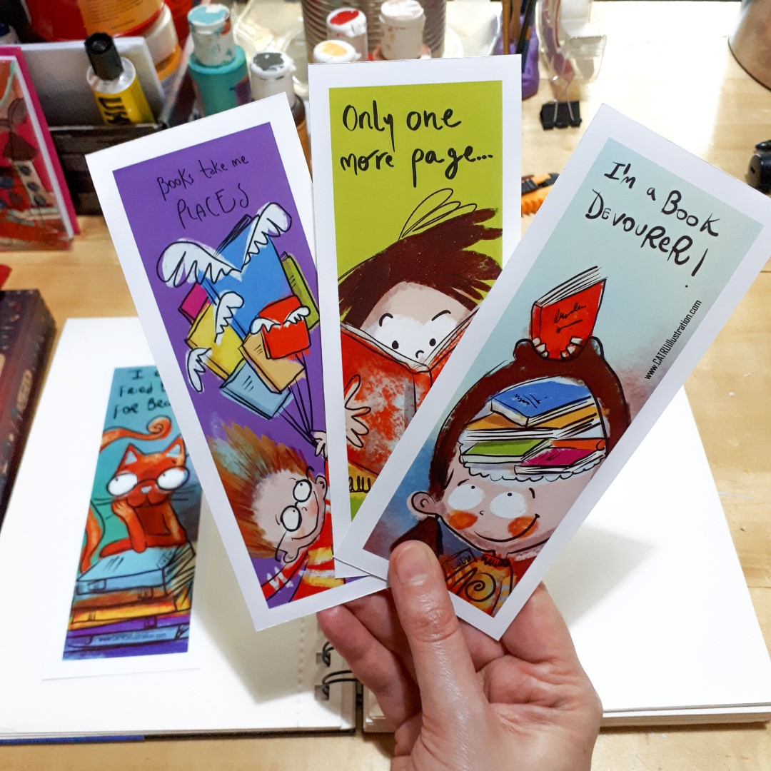 FREE! Bookmarks :) - CLICK HERE or the image, if you want to download these :)I illustrated 4, you can print them on thick glossy paper, suitable for bookmarks.I'd love to see pictures of them being used with your fave books, you can tag me on Instagram if you do that with @catru and make me smile :))