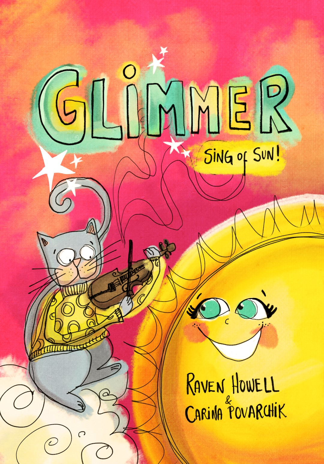 """- Written by the award winning author Raven Howell - Illustrated by Carina Povarchik.Published by Clear Fork Media Group LLC.It's the sister and sequel to Shimmer: Songs of Night.Publication Date: June 11, 2019.SynopsisBurst to bright adventures where vivid colors sprout, the sun paints the sky, and days are strawberry-scented. Creating a landscape of light, this picture poetry book transforms the ordinary in life to glimmering significance. Written and illustrated by collaborating team Raven Howell and Carina Povarchik, this collection is a joyful and imaginative companion book to Howell and Povarchik's Shimmer, Songs of Night.""""Glimmer is magical; a spellbinding, sun-blinding, sparkly celebration of the songs the seasons sing. I love it! It's gorgeous.""""-Liz Brownlee, National Poetry Day Ambassador, author of Apes to Zebras, an A-Z of Shape poems (Bloomsbury), and Be the Change, Poems Exploring Protecting the Planet (Macmillan).""""A charming celebration of the sun's warmth and glow, perfect for sharing and reading aloud.""""- Kirkus Review"""