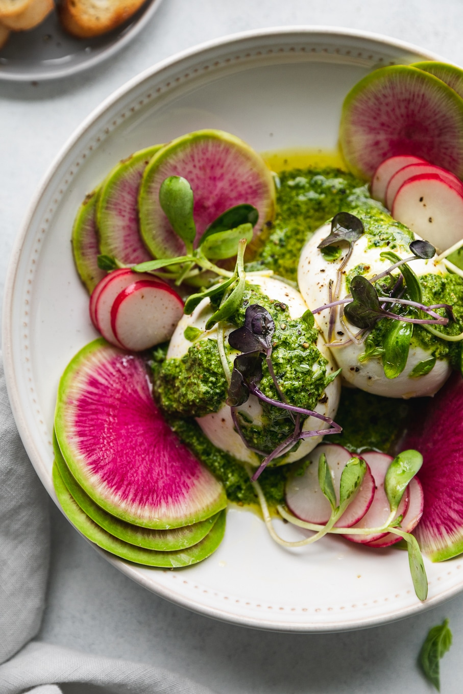 This is Molly's  Spring Burrata with Green Goddess Pesto.  DO YOU SEE HOW GORGEOUS THIS IS?