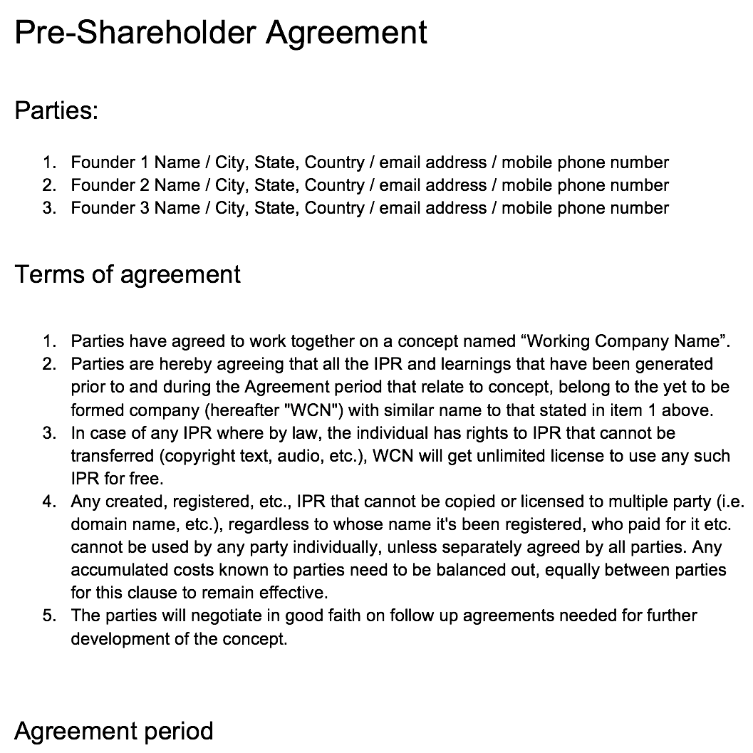 Click here to download the Pre-SHA Template