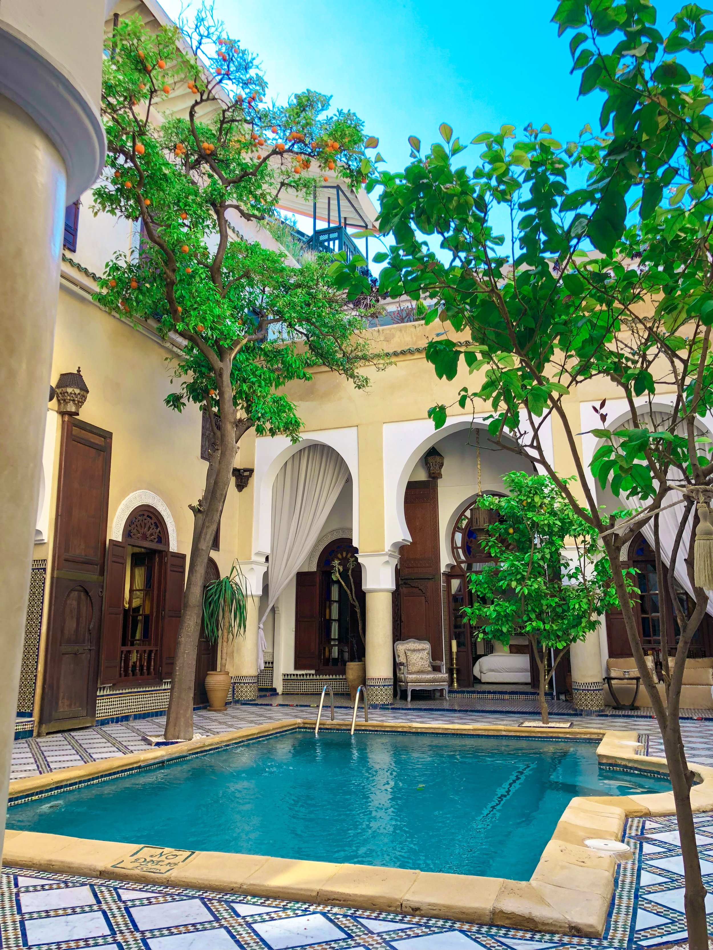 The pool in the middle of the riad in Fes