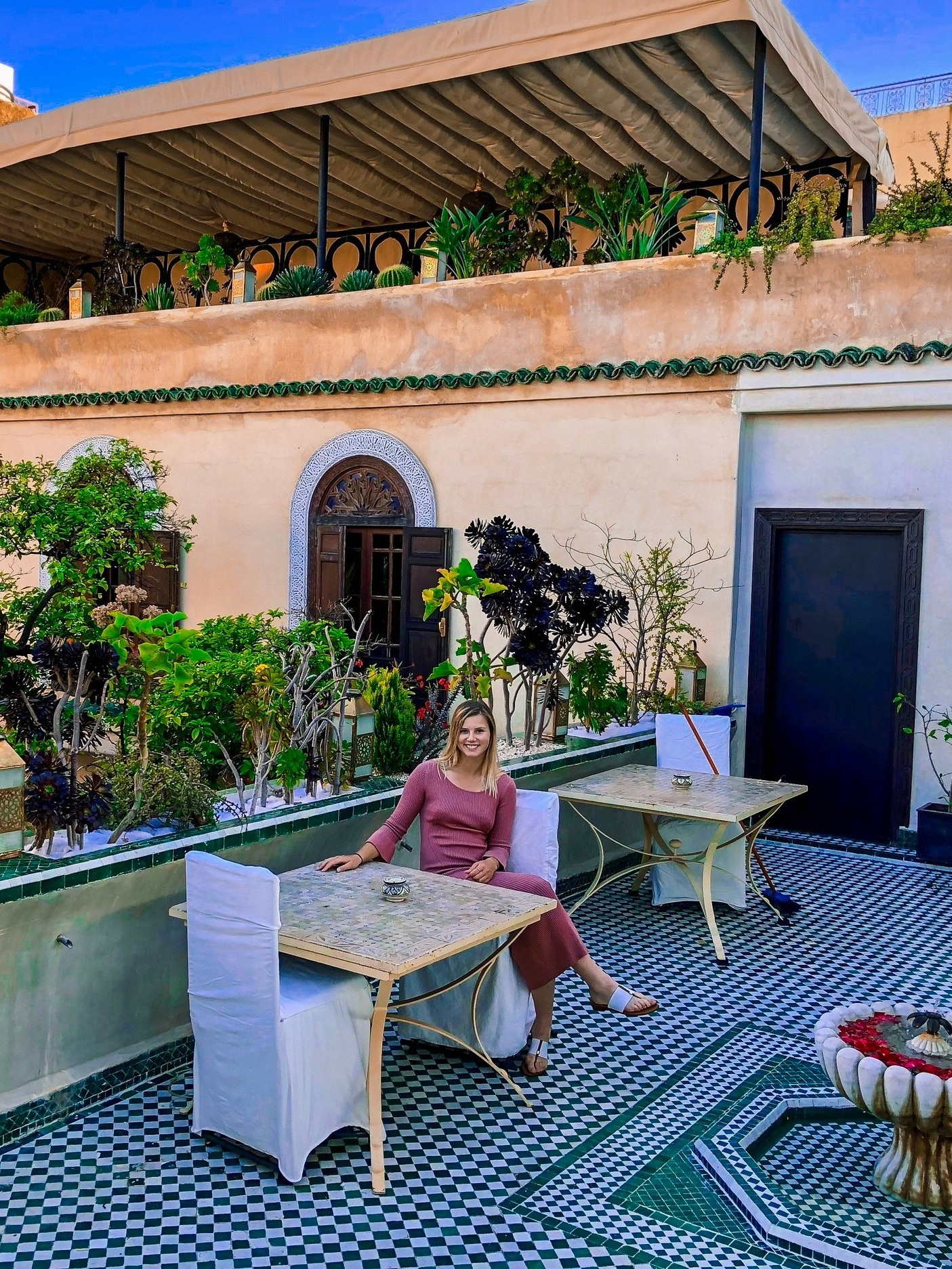 The stunning patio in a different riad
