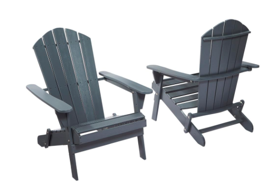 ADK Chairs - Home Depot sells these folding Adirondack chairs that are perfect for packing up and bringing to the beach. I bought one in white for my back porch and I love it! (It was fairly easy to put together too, though I did have to take out the drill and widen some of the pre-made screw holes during assembly.)