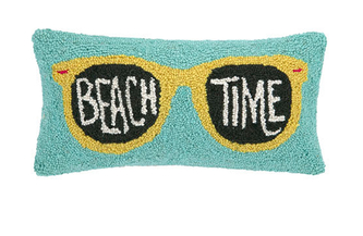 Beach Time - I'm a decorative pillow fiend and hooked pillows are my new faves. This Beach Time Sunglasses Hook Pillow is only $48!