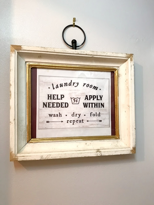 There are so many cute laundry room sayings you can order from Etsy or DIY if you're good at hand-lettering. I just printed this sign out (I found it on Pinterest) and put it in a frame I already had. I love the humor and I try to put something in every room of my home that makes me smile or laugh!