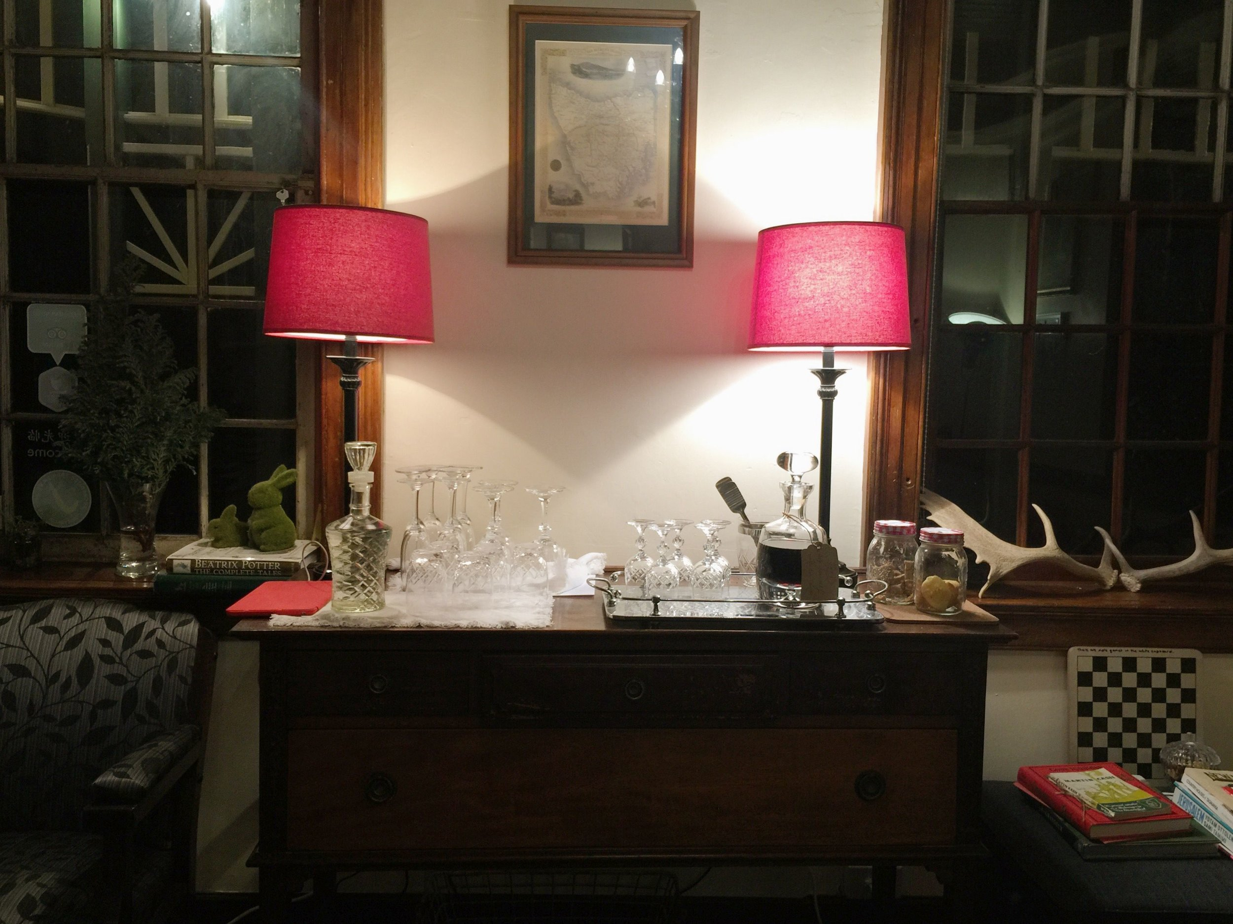 Cosy up in the drawing room with complimentary port
