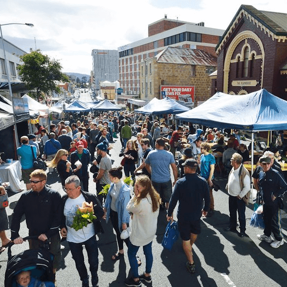 Farm Gate Market Hobart - Every Sunday, come rain hail or shine, a busy street in the heart of Hobart transforms into a bustling farmers' market. It's all about Tasmanian produce and getting to know your farmer, and it always has been.