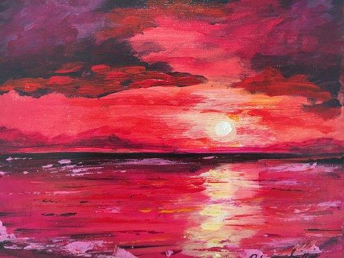 Red Sunset Acrylic on 8x10 Canvas 2019 — Robert Griffith Art