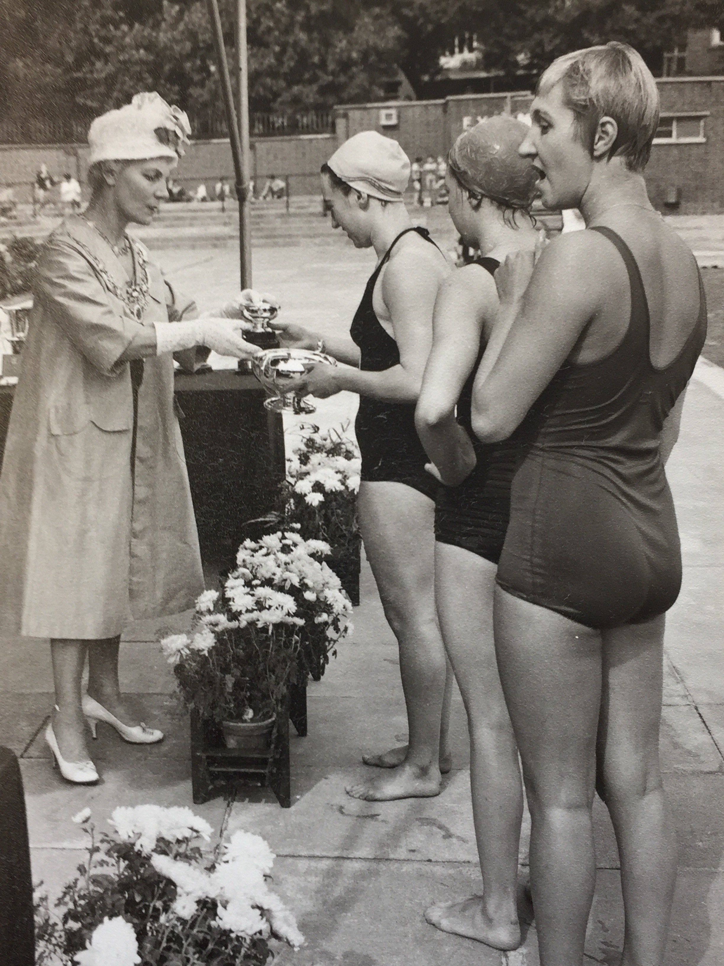 The presentation of cups at the 1964 London County Swimming Championships