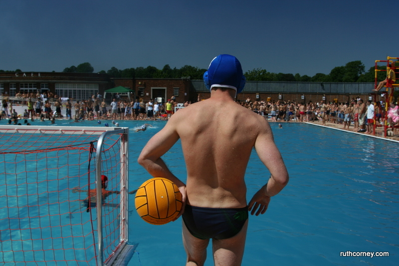 Water polo on the day the Lido was reopened after the renovation works, 2005