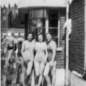 Tom's 3 girlfriends in their fashionable one piece bathing costumes 1940-41