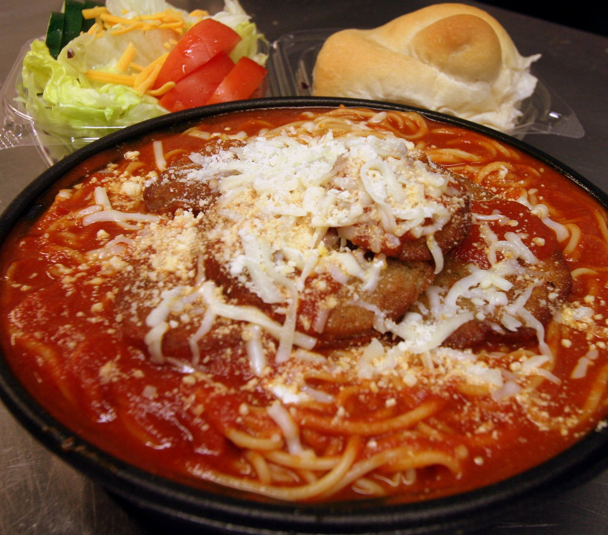 Catering Special - Pasta Dinner $10.99 Per PersonPasta with sauce, meatballs, sausage, bread/butter, salad and silverware included.