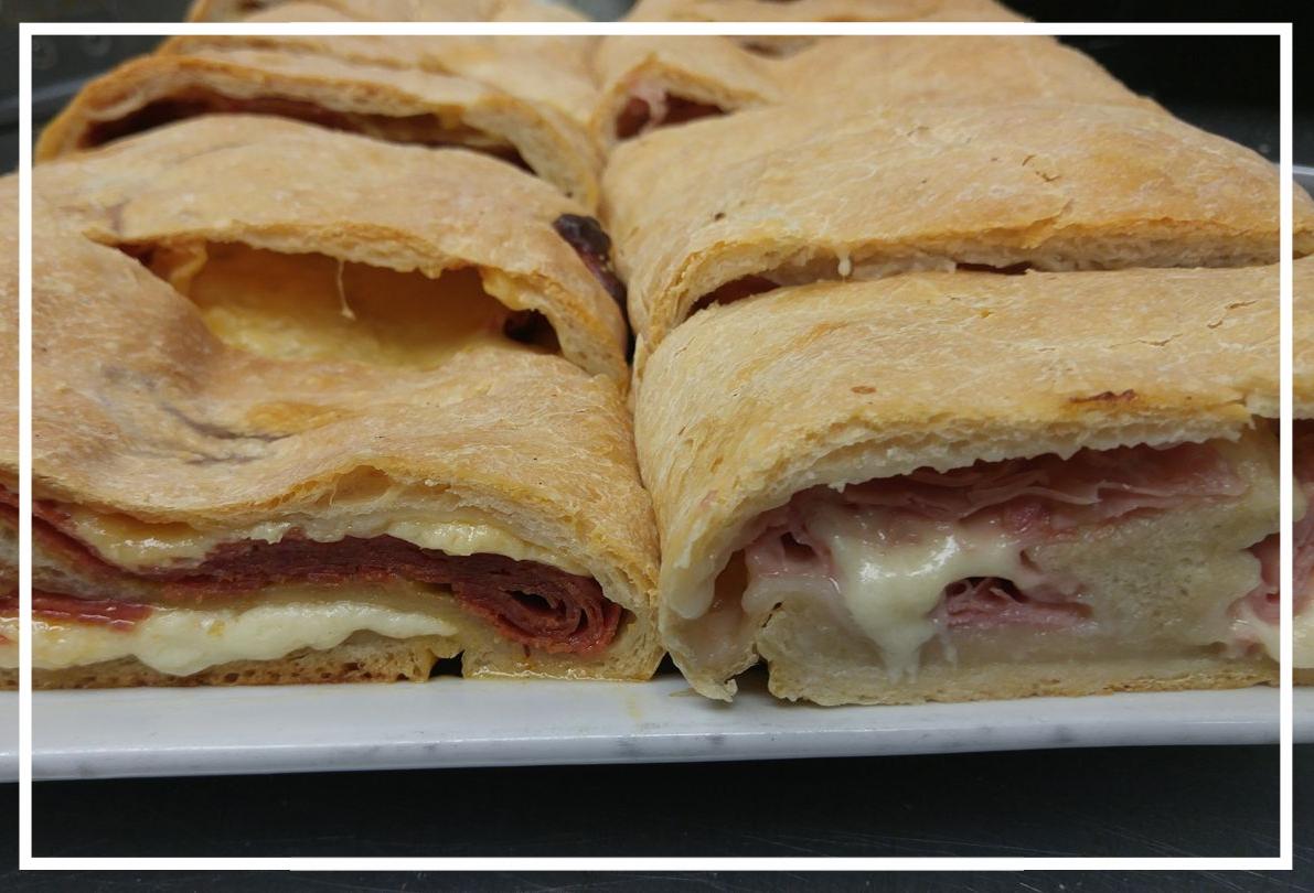 Stuffed Bread - Ham & Cheese $45.00Pepperoni & Cheese $45.00Steak & Cheese $50.00Broccoli OR Spinach & Cheese $45.00