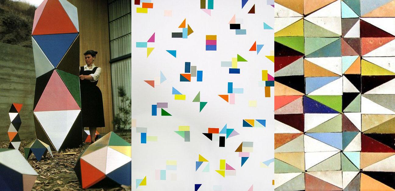 Ray Eames via  iiiinspired . Triangles via  Archivo Diario . Tiles via  Zeli j.