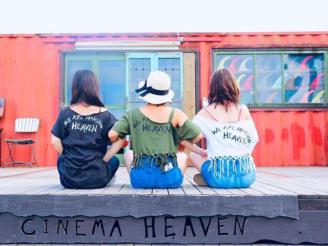"""先日、女子3人旅でエアストリームに宿泊してくれた女の子たち♪ . """"WE ARE MAKING HEAVEN"""" T シャツ! . Nice リメイク! . ありがとうございます😊 . #cinemaheaven  #wearemakingheaven #camp #airstream #miyazaki #観光 #haveanicetrip"""