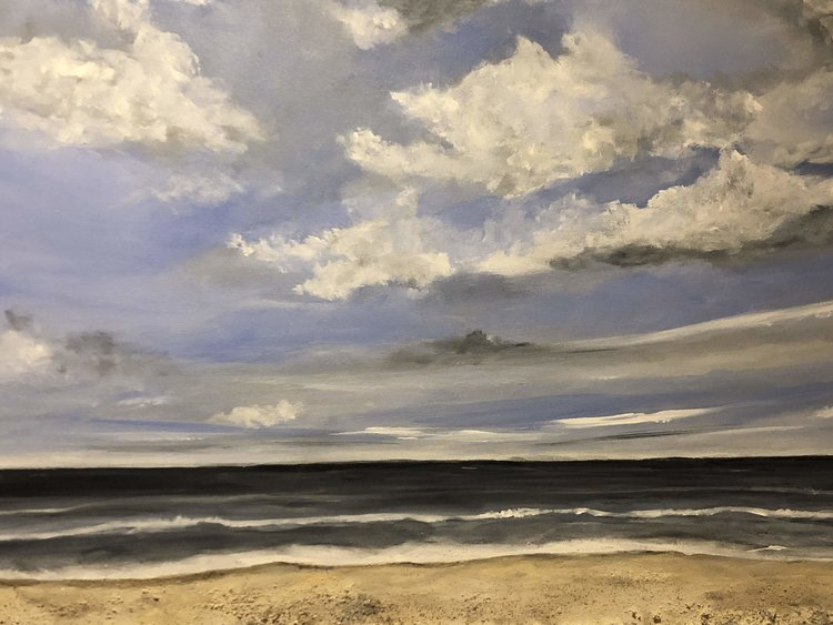 "Beach Landscape - Artist, Kirn Gill, Kizmit Gift GalleryAcrylic/mixed media 24 x 36""Retail value: $700."