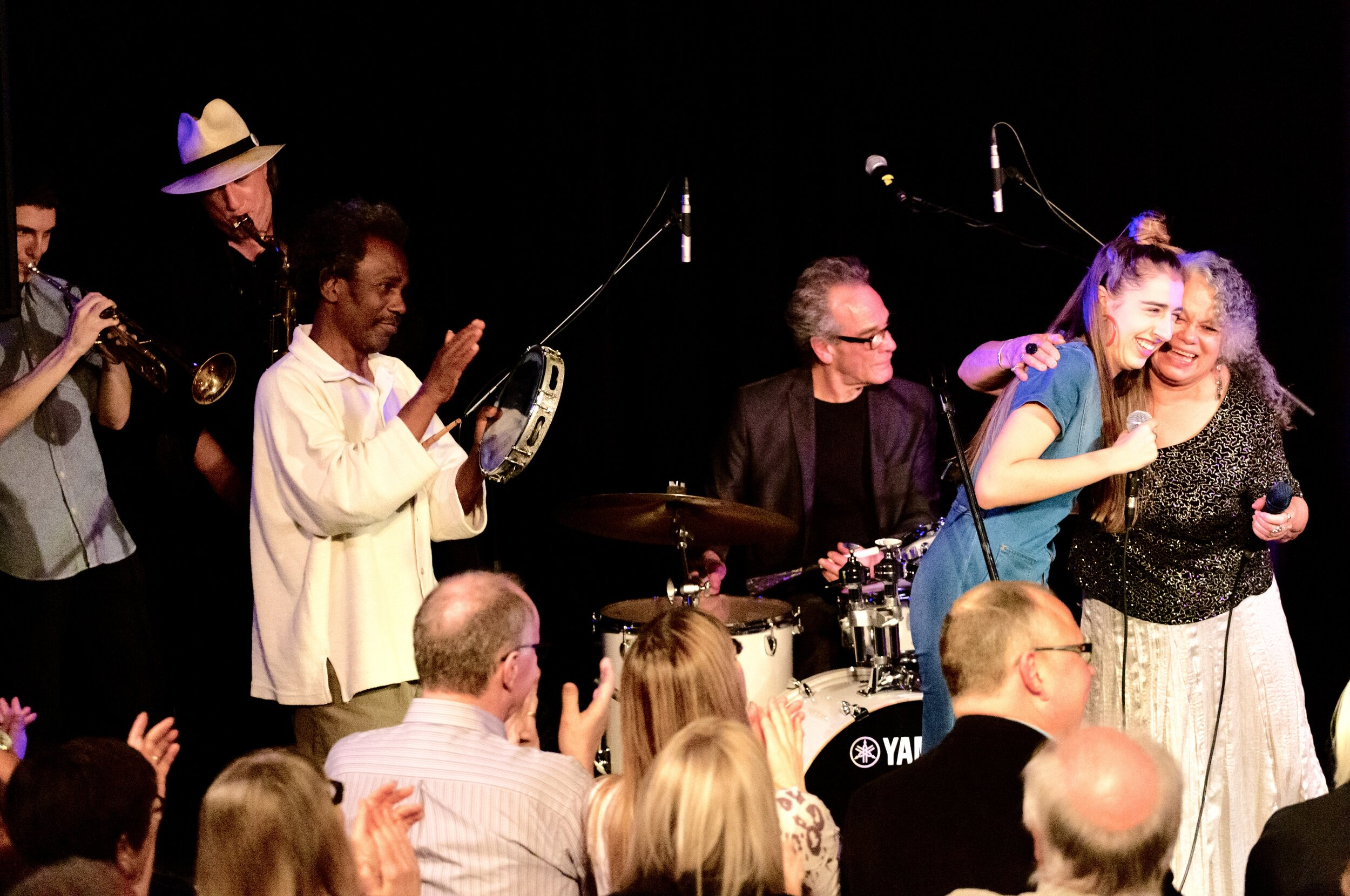 Julian Borkowski, trumpet, Dave Quinn, sax, Celso Machado, percussion, Geoff Eyre, drums, Maya Rae and Dalannah Gail Bowen