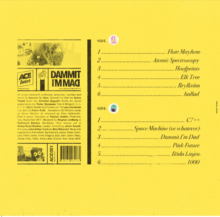 Track Listing:  A  1. Flute Mayhem  2. Atomic Spectroscopy  3. Hoofprints  4. Elk Tree  5. Brylkräm  6. ballad    B  7. C7++  8. Space Machine (or whatever)  9. Dammit I'm Dad  10. Pink Future  11. Röda Linjen  12. 1000