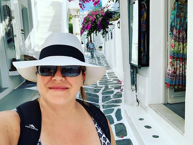 Lots of shopping and swimming in Mykonos today. It was the only day we didn't have an excursion. Tomorrow we end our time on the Emerald Princess and finish our adventure in Athens for the last three days. #mykonos #greece #streets #selfie #travel #cruise #greek #vacationmode #explorers #goexplore #beautifuldestinations