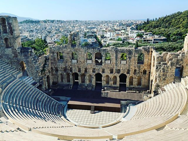 Herodes built this theatre for his wife . #herodes  #athens #greece #historicalplace #ancient #greekhistory #travel #placestosee #odeon #architecture #architecturephotography #theatre