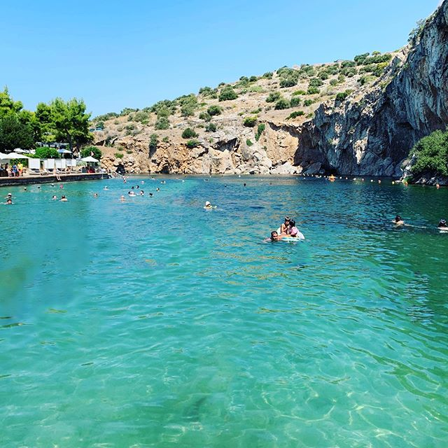 Our final day in Athens and we found a beautiful salt water lake to relax after a long trip. #vouliagmenilake #athens #greece #greek #travel #lake #swimming #beautifuldestinations #saltwater #paradise #bluewaters #goexplore #relax