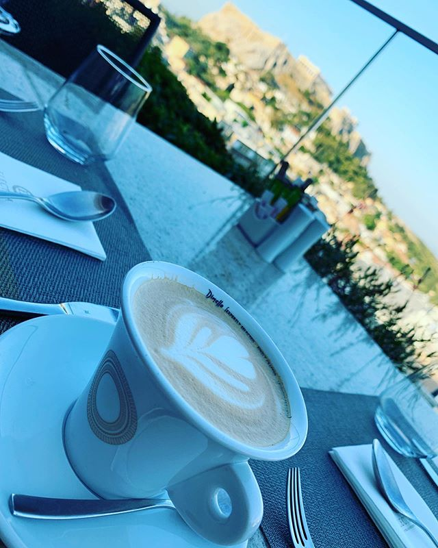 My last cappuccino with the Parthenon in the background. Saying goodbye to Europe today will be sad and yet I am looking forward to seeing those I love and my dog Chance when I get home! #athens #greece #cappuccino #europe #travels #coffeelovers #explore #international #wandering #goinghome #parthenon #greek #goingtomissthis
