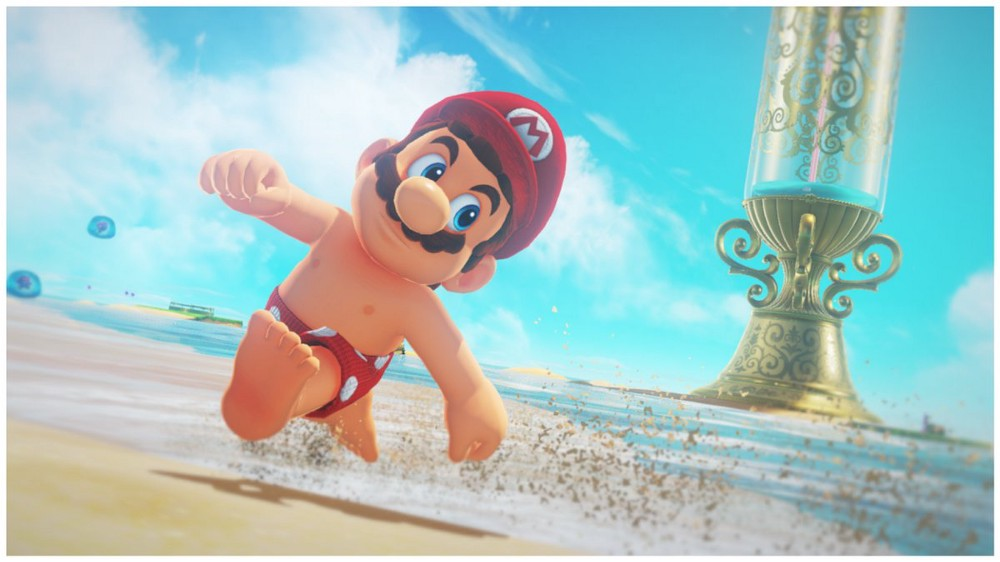 Mario out on the beach in his underwear with his nipples out. (Courtesy: My Nintendo News)