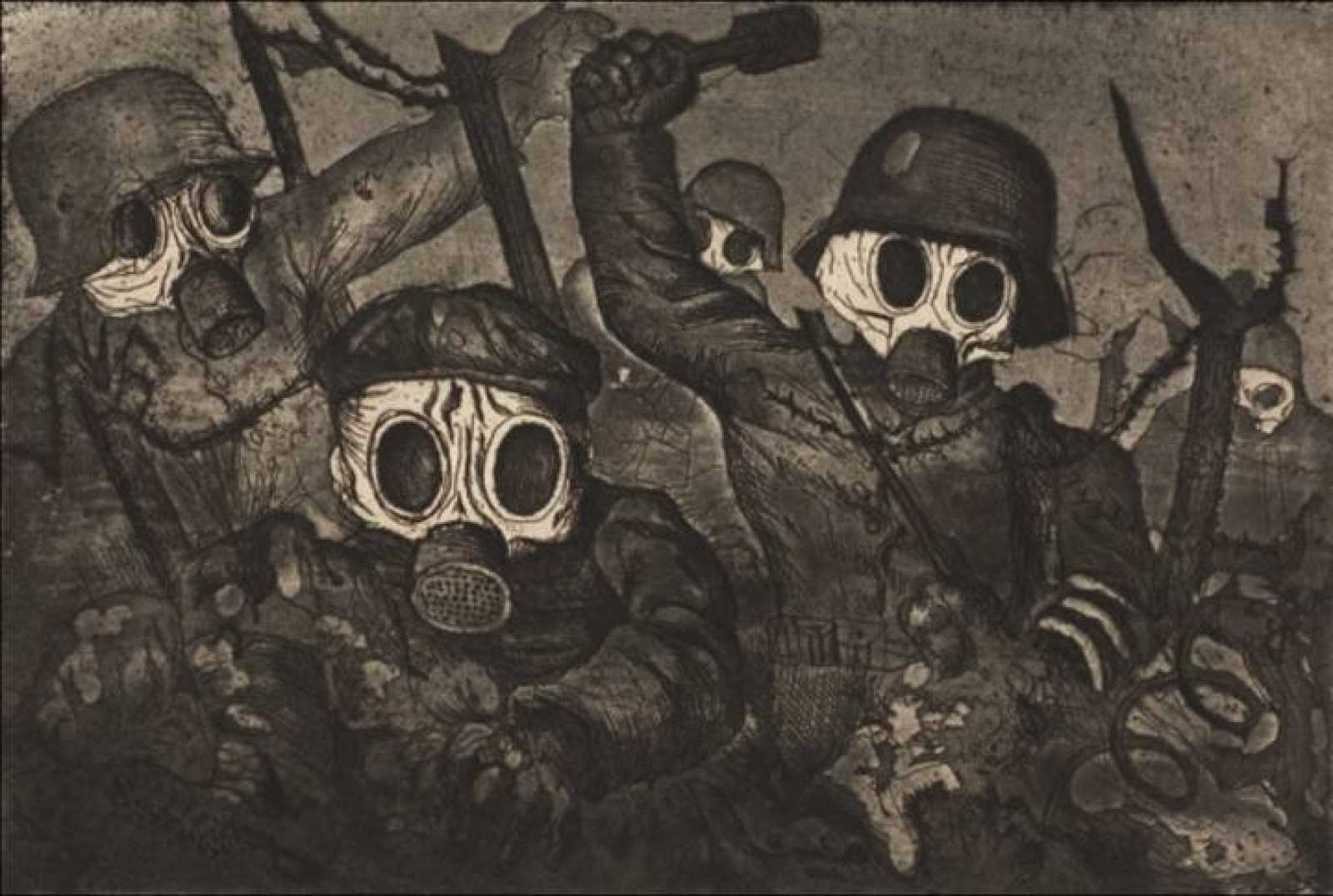 German Expressionist Painting by Otto Dix:  Stormtroopers Advancing Under Gas  (1924)