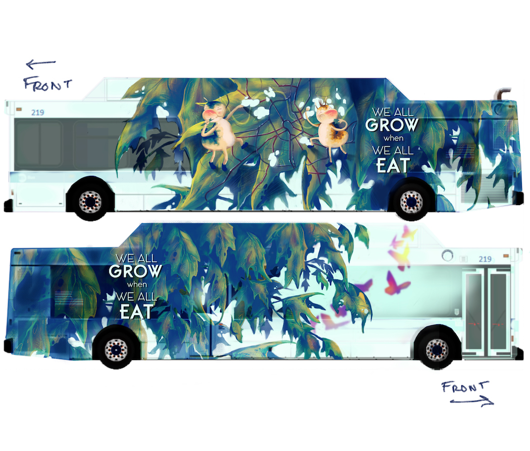 Norf Art Collective,  We All Grow When We All Eat , bus wrap rendering, 2018.