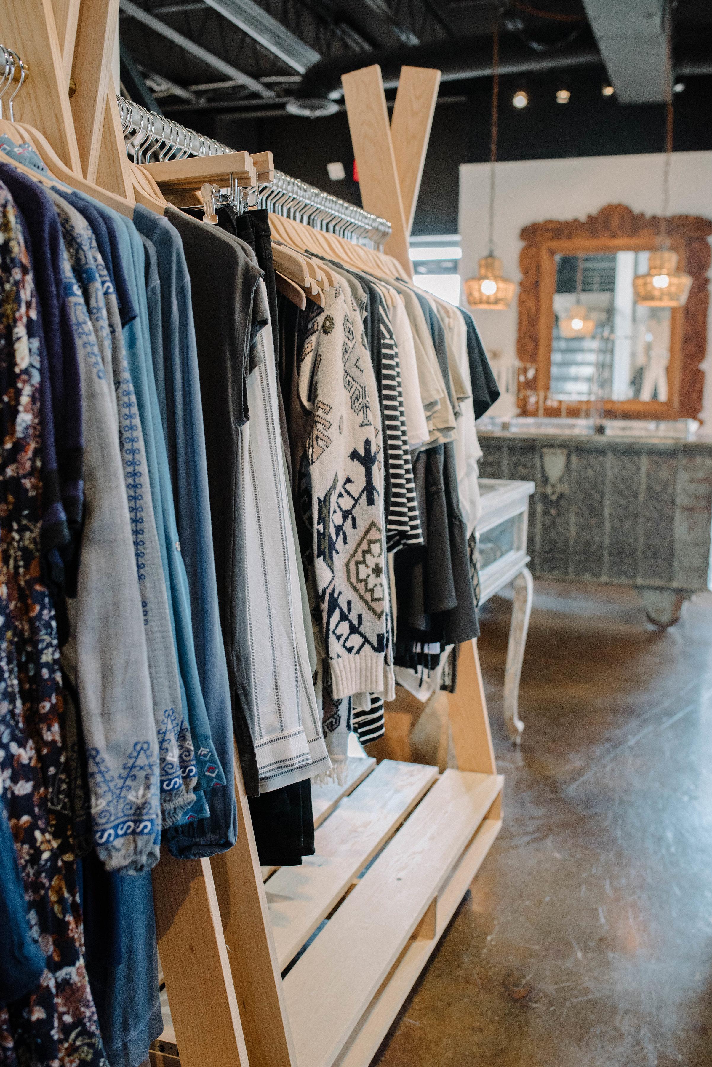 Vignette Boutique. Womens clothing rack.