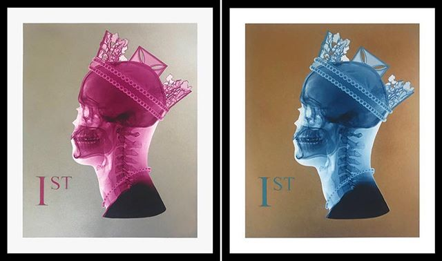 New works by @romanoart ! One amazing artist presented at @shock_london ! Ready to see more this Sept? Contact for info about 'First Lady' and more by @romanoart ! Check out new website for stock! #stamp #art #design #firstlady