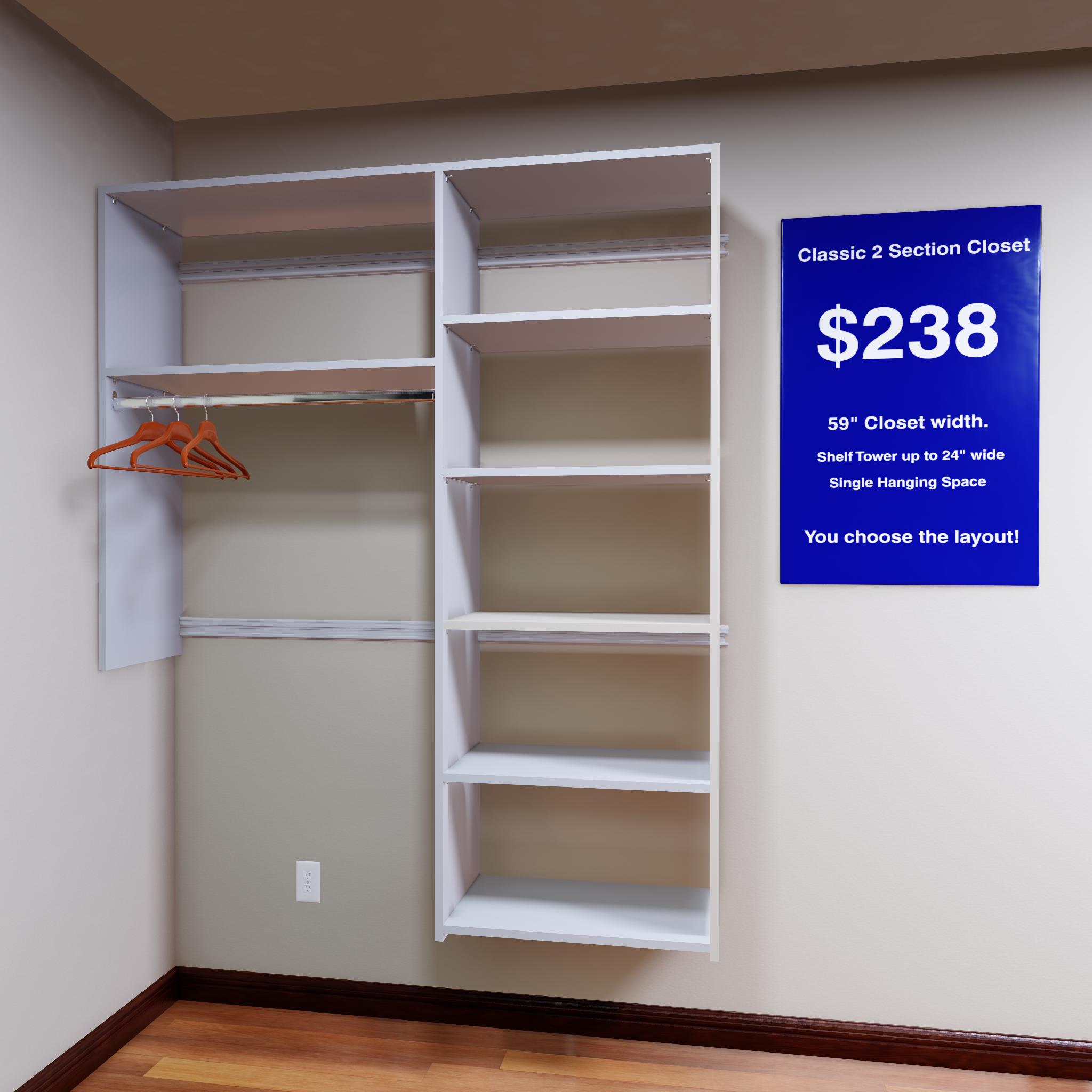 "- 2 section ""single"" closet rod - $238.00"