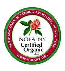 """This farm has been raising food organically for decades. It all started almost 40 years ago when Adam's father set out to raise clean food for his family. Adam grew up on that food and we carry the organic philosophy forward to this day.  We became Certified Organic in 2014. We feel it is an added assurance to our customers that we are farming in a way that keeps with the rhythms and rules of nature.  Plus, we believe the organic movement is best represented by small farms with integrity. The more us """"little guys"""" participate the less corporate agriculture can run away with what it means to be organic.  We are Certified Organic by NOFA-NY Certified Organic, LLC. Our beef cattle and sheep are also Certified Grass Fed by NOFA-NY, a further assurance to you that our ruminants (cattle and sheep) are raised on 100% grass and hay-exactly what those animals are designed to eat by nature."""