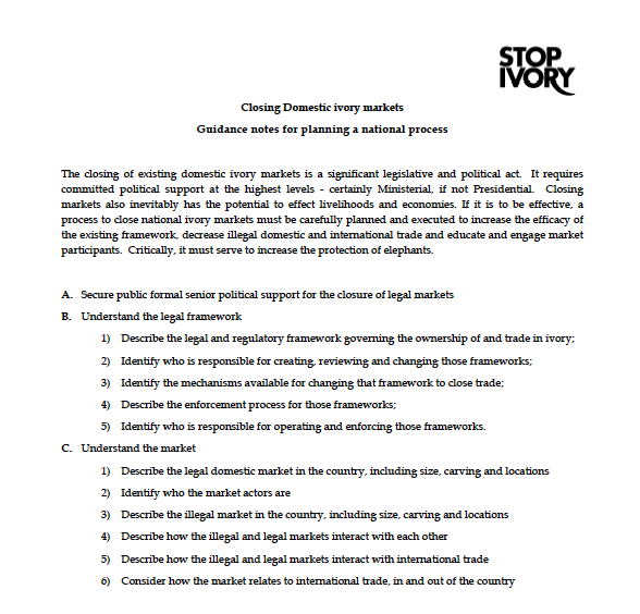Closing Domestic Ivory Markets: Guidance notes for planning a national process
