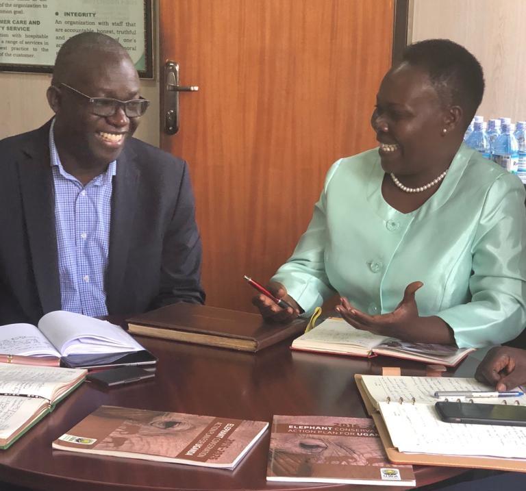 Mr. Sam Mwandha, Executive Director, UWA and Winnie Kiiru.