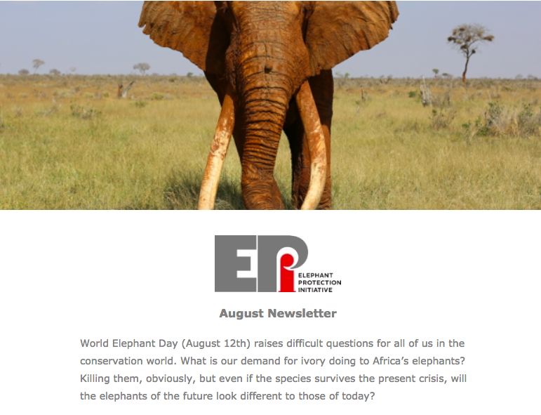EPI Newsletter: Aug 2018 - Includes updates from the Republic of Congo on the launch of their NEAP, working with the Government of Ethiopia to secure their national ivory stockpiles, and an important announcement from Ian Khama...