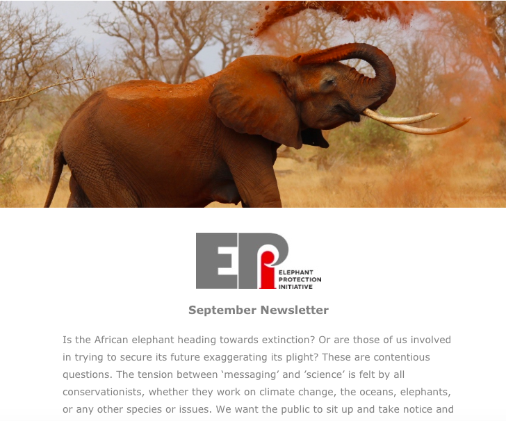 EPI Newsletter: Sept 2018 - Tackling the big questions facing many NGO's and updates from Ethiopia on the successful ivory inventory, working with Angola to strengthen wildlife laws amidst recent seizures and kicking off the development of Botswana's National Elephant Action Plan (NEAP).