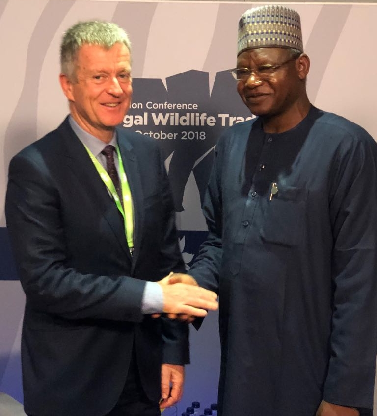 Minister Ibrahim Usman Jibril with John Stephenson at the IWT Conference.