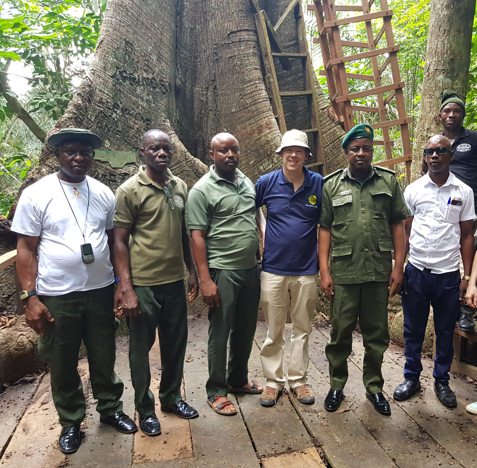 EPI Director of Communications Barnaby Phillips with park rangers. To Barnaby's left, Okomu Park Conservator Ahmed Abdullahi
