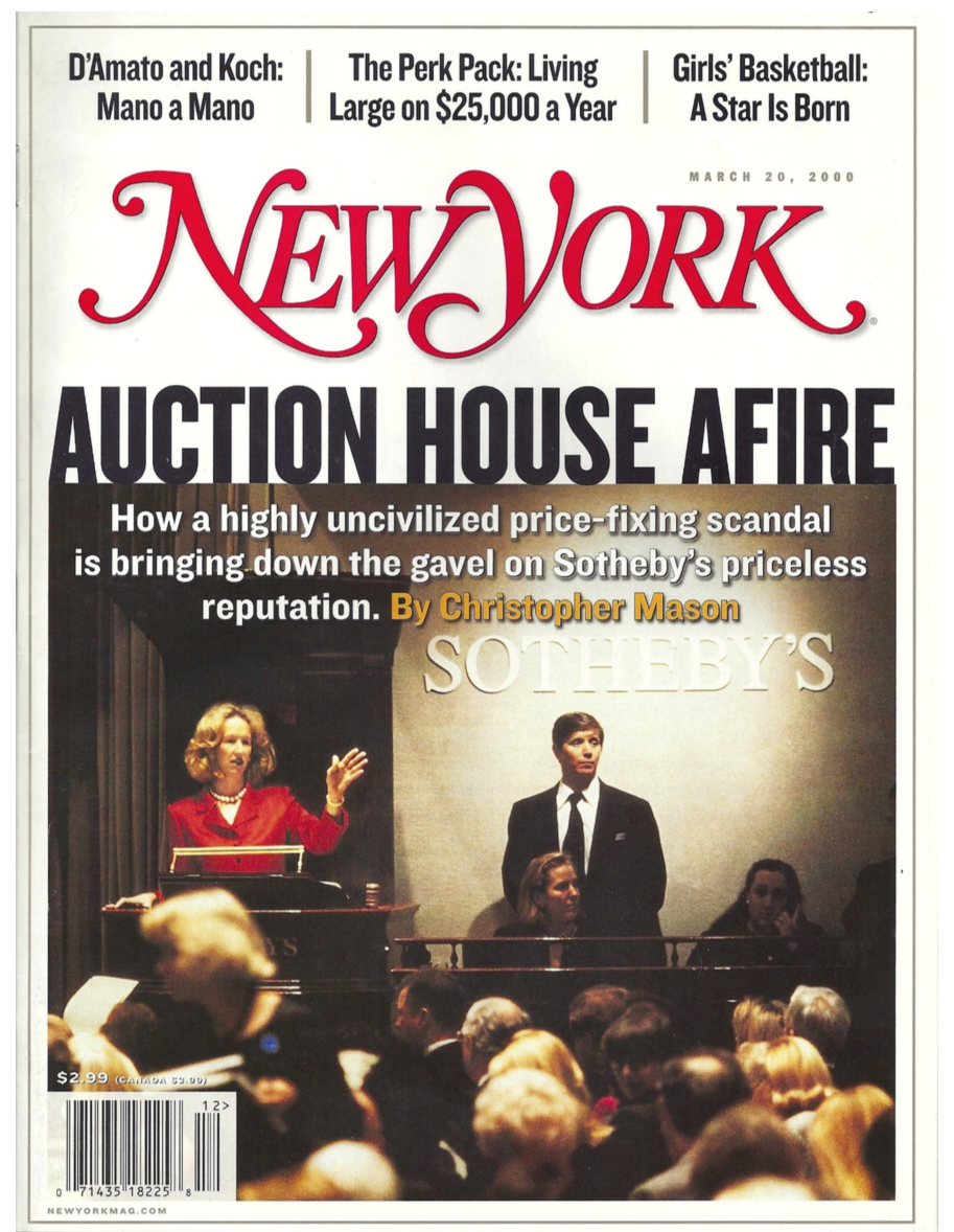 Auction House Afire article by Christopher Mason in New York magazine, re the Sotheby's and Christie's price-fixing auction house scandal